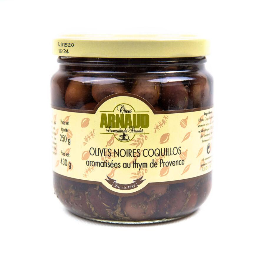 nizzan oliivit–tumma maustettu timjamilla 250g CR3